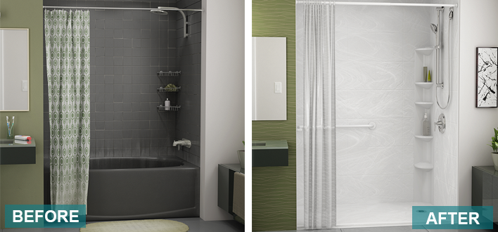 all in one tub and shower. All of our tub to shower conversions include an innovative custom made  one piece seamless wall which means no seams caulk or cracks creating a Bathfitter New York